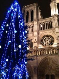 パリのノートルダーム大聖堂とクリスマスツリー
