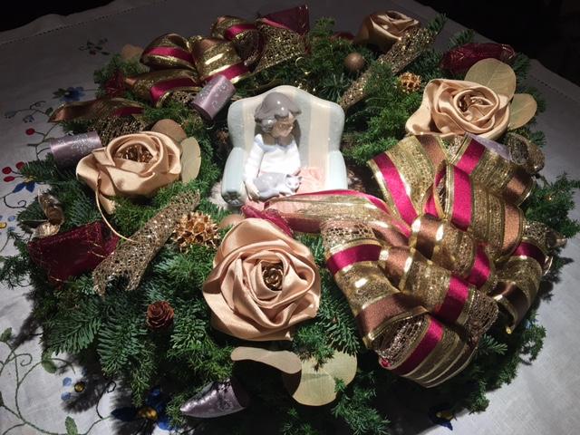 手作りのクリスマスリース!ゴージャスです。